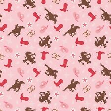 Fabric Western Cowgirl Bronc Boot Horse on Pink Cotton by the 1/4 yard BIN