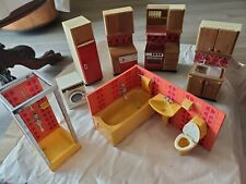 1970s LUNDBY WOOD & PLASTIC DOLL HOUSE FURNITURE KITCHEN & BATHROOM 7 PIECES