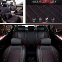 PU Leather Cushion Seat Cover Pad Mat For Car Front Rear w/Pillows Comfortable