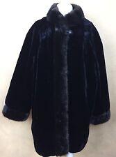 Vintage Hillmoor NY Luxury Faux Fur Coat Black w Brown Trim 3 Button Closure