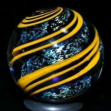 "HANDMADE ART GLASS MARBLE/1.010""-TURQUOISE DICHROIC w/MUSTARD RIBBON-WORLDWIDE"