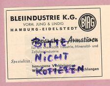 HAMBURG, Werbung 1952, Bleiindustrie KG vormals Jung & Lindig Apparate Armaturen