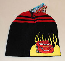 Disney Pixar Cars Boys Black Red Embroidered Acrylic Beanie One Size New