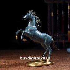 Bronze copper Chinese Zodiac Fengshui animal Wealth Blue horse Steed sculpture