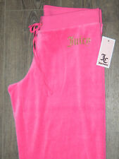 NWT-Juicy Couture Pink Drawstring Glitter Logo Pant in Dragonfruit-Size X-Small
