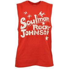 Soulman Rocky Johnson Mens Tank Top Tee Cotton Blend Red Wrestler Distressed