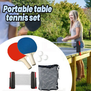 Sports Indoor Games Retractable Portable Table Tennis Net Ping-Pong Paddles Set.