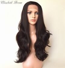 Glueless SKIN Off Black Long Curly Invisible Lace Front Wig 029