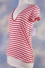 NEW $58 FREE PEOPLE ivory red striped Avery tee t-shirt blouse top shirt XS