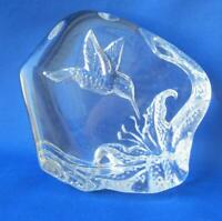 Large Hummingbird Crystal Paperweight Bird with Flower