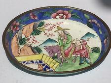 VINTAGE cinese/giapponese dipinto a mano smalto pin Vassoio/piatto BEN DECORATA Scene