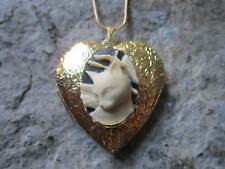 CAT CAMEO GOLD PLATED HEART SHAPED LOCKET - HANDMADE - UNIQUE - CAT LOVER - GIFT