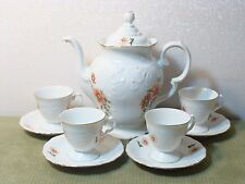 VINTAGE WAWEL PORCELAIN TEA OR COFFEE POT WITH 4 PETITE CUPS AND SAUCERS POLAND!