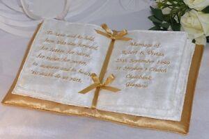 Gold Book Shaped Personalised Wedding Ring Cushion