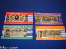 Confederate Reprodution Currency Sets A,B,C and D, 25 Notes, $500 CSA, $100 Va.