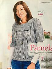 KNITTING PATTERN Ladies Chunky Lace Sweater Short Sleeved Jumper Debbie Bliss