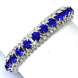 Womens Blue Crystal Tennis Bracelet Bangle Jewelry Wedding Bridal Party Silver
