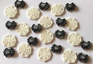 12 SPIDERS AND WEBS EDIBLE  SUGARPASTE ICING  CAKE TOPPERS