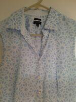 Talbots, Women's Sleeveless, Button-Down Blouse, Size 12, Light Blue and White