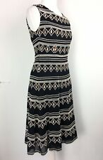 Alice Temperley Somerset Dress 6UK Black Gold Cotton Fit Flare Embroidered