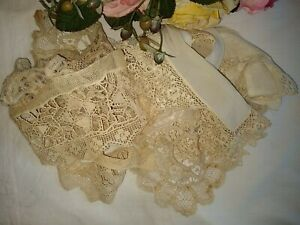 ANTIQUE/VINTAGE LOT 5 HAND MADE LACE COLLARS~IRISH~NEEDLE~BATTENBURG~BRUSSELS
