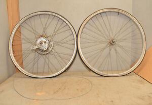 "2 Nisi Cerchi 27"" racing rim French touring bike Follis gear hub collectible lot"
