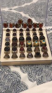Mix Stone Aqeeq Ring Mens Akik Ring Silver 925 Ring Handmade Agate Lot 52 Pieces