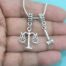 ATTORNEY : Lady Scale of Justice and Gavel Charms Fit Beaded Bracelet.