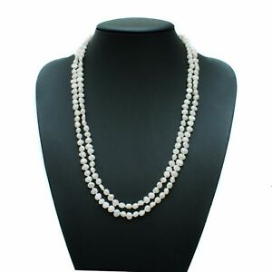 """Long Pearl Necklace White Cultured Freshwater Baroque Pearls 48"""" Opera Length"""