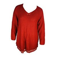 New Style & Co Womans Red Sparkle Sweater Tunic Top Sz 3X Lace Detail NWT