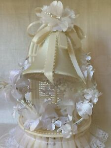Vintage SATIN BELLS Stand Millinery Flowers Forget me nots Wedding Cake Topper