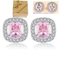 Luxus Ohrringe Echt 925 Silber Zirkonia Ohrstecker Ohr-Schmuck Geschenke Frauen