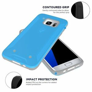 [30pcs/lot] For Galaxy S7 Edge Case, [Corner Protection] Hybrid Cover Blue