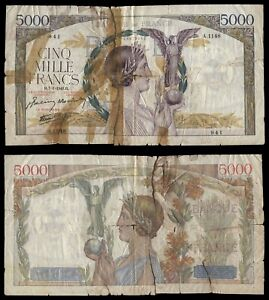 XB.064} FRANCE 5000 francs 1943 / low grade / parts missing / taped / G