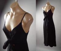 Black Knot Tie Front Empire Waist Cotton A-Line Slip Sun Midi 284 mv Dress S M L