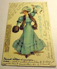 Color Postcard Columbia University Blue Dress Christy Unsigned 1906 Postmark
