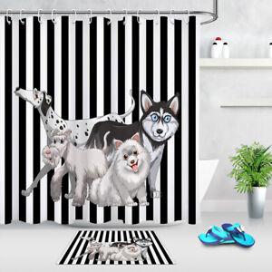 "Cute Dogs Creative Black & White Stripes Shower Curtain Set Bathroom Decor 72"""
