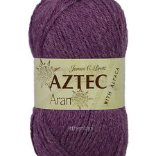 James C Brett Aztec Aran With Alpaca Knitting Wool 100g Ball - Complete Range Al6 Plum