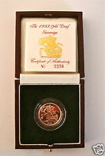 1993 QUEEN ELIZABETH II GOLD FULL PROOF SOVEREIGN with BOX & COA