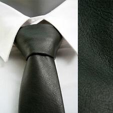 "VoiVoila Men's Casual Skinny Slim Narrow Black Solid Faux Leather Neckties-2.15"""