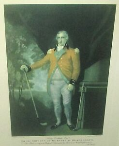 """WILLIAM WARD """"TO THE SOCIETY OF GOFFERS AT BLACKHEATH"""" COLORED ENGRAVING"""