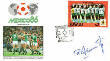 FOOTBALL WORLD CUP 1986 TUVALU FDC SIGNED BY NORTHERN IRELAND PAT JENNINGS