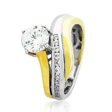 1.27 Carat Engagement Ring Cz Two-Tone 925 Sterling Silver Yellow-Gold Plated