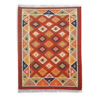 Genuine Handmade Afghan Nomadic Tribal DARK RED Wool Large Kilim Rug 5x8 ft