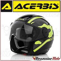 CASCO JET ACERBIS X-JET ON BIKE CAMOUFLAGE NERO/GIALLO LUCIDO MOTO SCOOTER