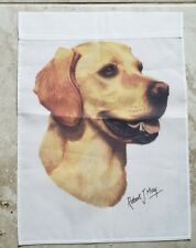 1 Robert J May Art Chocolate or Yellow lab Dog outdoor Garden Flag Fall Hunt