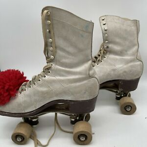 Vintage Chicago Hyde Leather Roller Skates White W/ Original Box Has Musty Smell