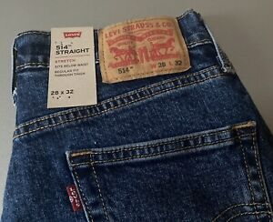Levi's 514 Men's Straight Jeans In Blue Size W28 L32 BNWT 005140831