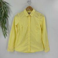 J.Crew Womens Long Sleeve Button Down Shirt Size XS Yellow Stripe Top Cotton N11