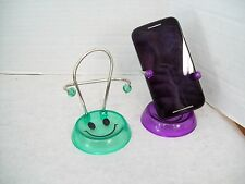 Set of Two Smiley Face Cell Phone Holders, Purple & Green